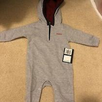 0-3 Months Dkny Baby Boy Gray Long Sleeve One Piece Hoodie Photo