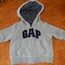 0-3m Baby Gap Appliqued Logo Full Zip Hoodie Hooded Sweatshirt Jacket Gray Photo