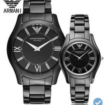 01 2 100%Original Armani Black Watch Ceramic Couple Slim Quartz Wristwatches Ana Photo