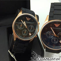 01 2 Pc 100% Orignal Armani Watch Rubber Cover Steel Rose Golden Watch Wristwatc Photo