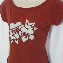 0515039 Fossil Maroon Red Top M True Love Hearts Cap Sleeve Wide Neck Sweatshirt Photo