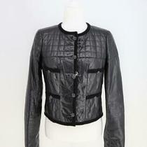 06a 2006 Chanel P29015 Little Black Jacket Leather Gripoix Button Jacket Sz 38 Photo