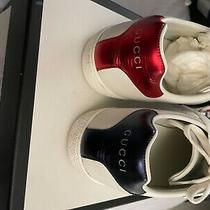 07215425 Authentic Gucci Sneakers White and Red Size 8 Worn 3 Times Photo