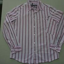 074 Mens Hurley Pink Stripe L/s Shirt Sze Medm Ex-Cond 80 Rrp.  Photo
