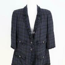07p 2007 Chanel P31154 Navy Blue Tweed Knit Jacket Sz 46 Photo
