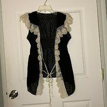 0810b Anthropologie Hazel Sz Xs Black Lace Vest Euc Photo