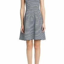 118 New Akris Punto Stripe Fit & Flare Sweater Blue Dress Size 10  Ret. 1190 Photo