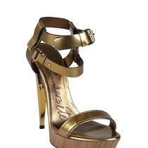 1250 Auth New Lanvin Gold Leather Strapped Lacquered Heel Sandals Sz 39/8 Photo
