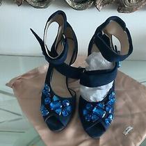 1400 Blue Prada Crystal Evening Satin Sandals Shoespumps 41/10 With Boxbag Photo