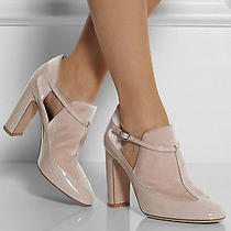 1.6k Valentino Rockstud Nude Blush Patent Leather Mary Jane Bootie Boot Shoe 38 Photo