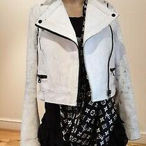 1.950 Proenza Schouler White Cracked Leather Biker Jacket Uk8/ Us4/ S Used  Photo