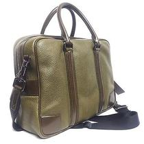 1995 Burberry Olive London Calf Leather Holdall Messenger Briefcase Men Gift A Photo