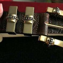 1-Brighton Gold Tone Embossed Brown Leather Belt Size 28 Small Fits 24-28 1
