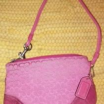1- Coach Purse Pink Leather Strap Wristlet  Authentic Vintage  Photo