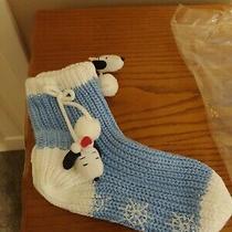 1 Pair Avon Snoopy Slipper Socks Light Blue Knit White Trim New Os Photo