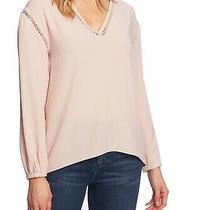 1. State Women's Blouse Blush Pink Size Small S Peplum Back v-Neck 89 095 Photo