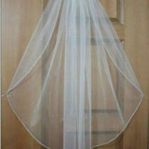 1 Tier High-End White/ivory Bridal Wedding Veil Swarovski Crystal Bead Edge Veil Photo