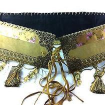 1 Womens Belt Natural Suede Gold Tassles Beads Shells Belly Dancer              Photo