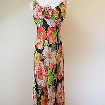 10 Carmen Marc Valvo Collection Floral Dress Black Orange Tuscan 100% Silk Euc Photo