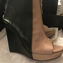 10 Crosby Derek Lam Ladies Size 7.5 Tan/black Wedge Zip Front Ankle Boots Photo