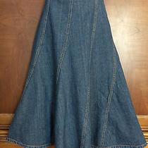 10 M Medium Gap Jean Denim a-Line Flare Skirt New Fluted Mid-Calf Cotton Blue Photo