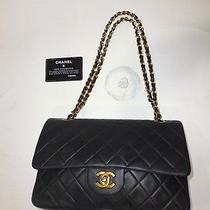 100% 2.55cm Auth Coco Black Lambskin Leather Chanel Flap Shoulder Bag Purse  Photo