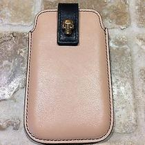 100%Auth Alexander Mcqueen Iphone Leather Case With Gold Skull  Photo