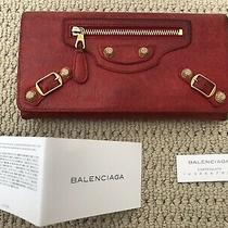 100% Auth Balenciaga Leather Long Wallet Purse Giant Gold Hardware With Cards Photo