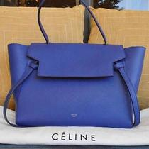 100% Auth Celine Belt Bag Indigo Drummed Calfskin Leather Tote Luggage Satchel Photo