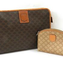 100% Auth Celine Macadam Pvc Leather Clutch Bag & Coin Case Set Italy No Reserve Photo