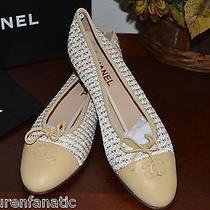 100% Auth Chanel Beige Tweed 05p White Beige Flats Ballet Photo