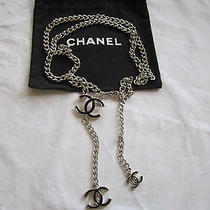 100% Auth. Chanel Belt/necklace Size 90--Silvertone and Black Enamel--Classic I Photo