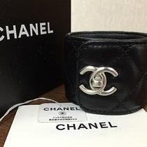 100% Auth Chanel Black Leather Cuff Bangle Bracelet Silver Cc Rare W/box Photo