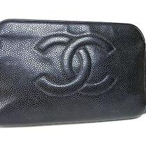 100% Auth Chanel Caviar Leather Cosmetic Pouch Black Coco W17 Photo
