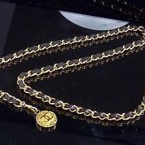 100% Auth Chanel Chain Leather Belt Coco Charm Black B441 Photo