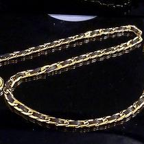 100% Auth Chanel Chain Leather Belt Coco Charm Black B478 Photo