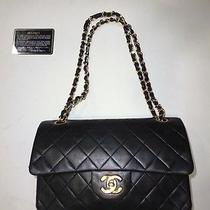 100% Auth Chanel Coco Black Lambskin Leather Flap Shoulder Bag Purse (23 Cm) Photo