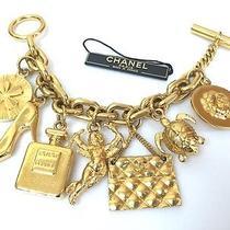 100% Auth Chanel Gold Charm Bracelet Cuff Bangle Purse Shoes W/box Photo
