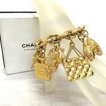 100% Auth Chanel Gold Tone Charm Bracelet Cuff Bangle 2.55 Purse Shoes W/box Photo