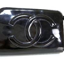 100% Auth Chanel Patent Leather Cosmetic Pouch Black Coco W17 Photo