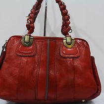 100% Auth Chloe Leather Heloise Small Satchel Shoulder Bag Orange Free Ship Photo