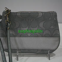 100% Auth Coach Signature Stripe Sateen Outline C Small Wristlet 47788  New Grey Photo