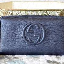 100% Auth Gucci Wallet Navy Blue Pebbled Leather Tassel Ziparound Embossed Logo Photo