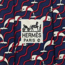 100% Auth Hermes Mens Silk Tie Whimsical Dolphins Waves Pattern No. 987 Photo