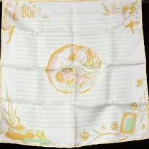 100% Auth Hermes Petit Carre Scarf Silk 42x42 Birds Pattern White Brand-New D448 Photo