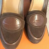100% Auth Hermes Pumps Color Brown Heel Shoes Size 39 Box Dust Bag Photo