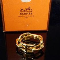 100%Auth Hermes Scarf Ring Gold Tone Chaine d'dancre Charm Cadena With Box Photo