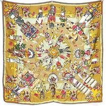 100% Auth Hermes Scarf Shawl Silk 90x90 Kachina Pattern Beige C299 Photo