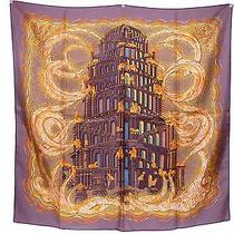 100% Auth Hermes Scarf Shawl Silk 90x90 Les Rivieres De Babel Purple C610 Photo