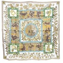 100% Auth Hermes Scarf Shawl Silk 90x90 Native American Unused B315 Photo